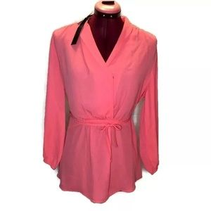 Le Chateau Top M Pink Coral Semi Sheer Blouse